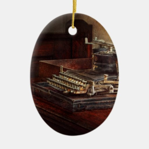 Steampunk - A crusty old typewriter Christmas Ornaments