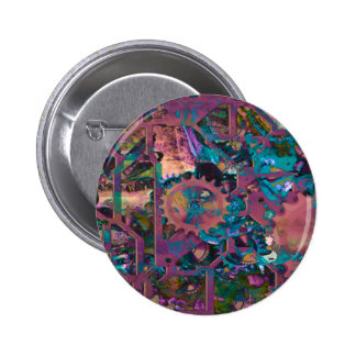 Steampunk, abstract pinback buttons