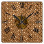Steampunk Acero-plateó el reloj de pared de la Met