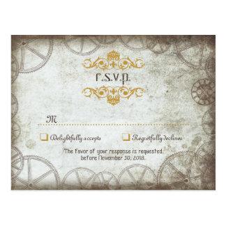 Steampunk adapta casar RSVP Tarjetas Postales