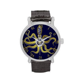 Steampunk adapta el pulpo Kraken Relojes De Pulsera