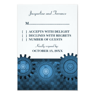 """Steampunk adapta la tarjeta de RSVP, azul Invitación 3.5"""" X 5"""""""
