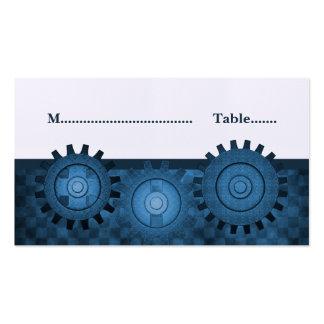 Steampunk adapta la tarjeta del lugar, azul tarjetas de visita