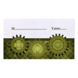 Steampunk adapta la tarjeta del lugar, verde tarjeta de visita