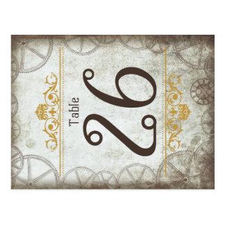 Steampunk adapta número de la tabla del boda tarjeta postal