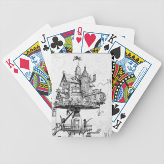 Steampunk Aerial House By Albert Robida Bicycle Playing Cards