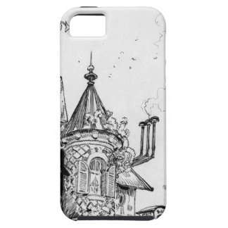 Steampunk Aerial House by Albert Robida iPhone 5 Cover