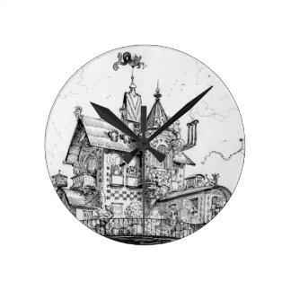Steampunk Aerial House by Albert Robida Clock