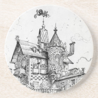 Steampunk Aerial House by Albert Robida Drink Coaster