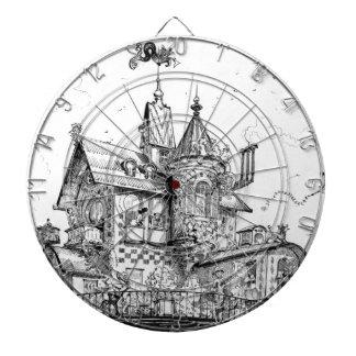 Steampunk Aerial House by Albert Robida Dartboard