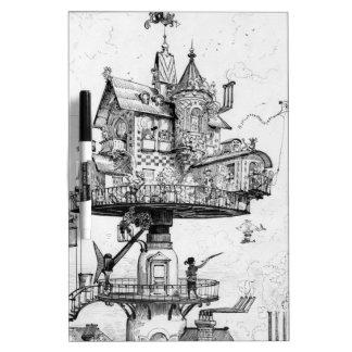 Steampunk Aerial House by Albert Robida Dry-Erase Whiteboard