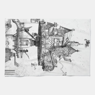 Steampunk Aerial House by Albert Robida Hand Towels