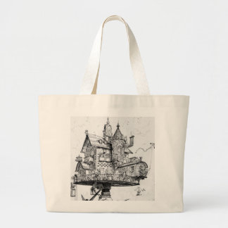 Steampunk Aerial House by Albert Robida Large Tote Bag