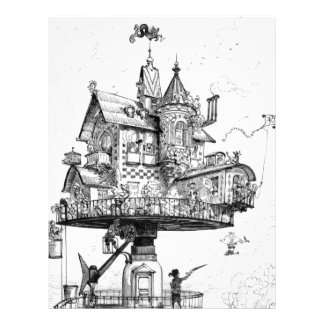 Steampunk Aerial House by Albert Robida Letterhead Design