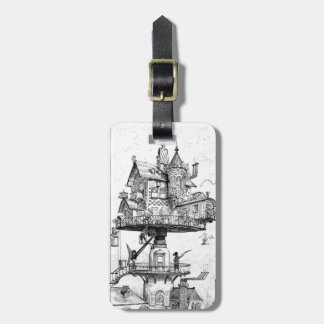 Steampunk Aerial House by Albert Robida Tags For Bags