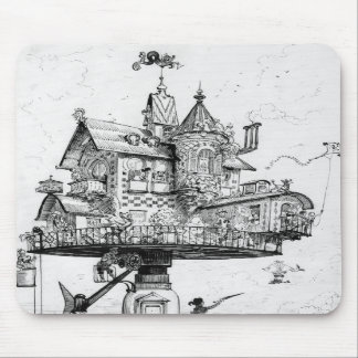 Steampunk Aerial House by Albert Robida Mousepad