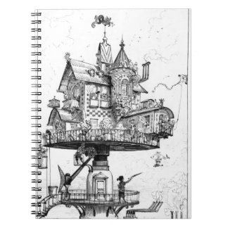 Steampunk Aerial House by Albert Robida Spiral Notebook