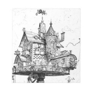 Steampunk Aerial House by Albert Robida Memo Notepads