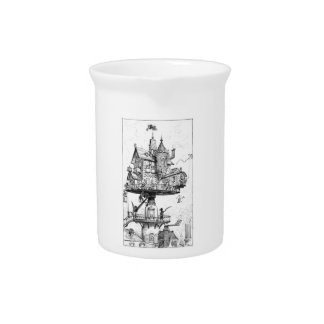Steampunk Aerial House by Albert Robida Beverage Pitchers
