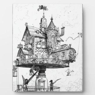 Steampunk Aerial House by Albert Robida Plaque