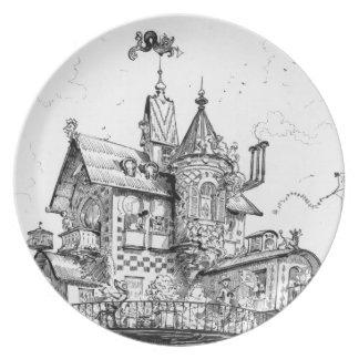 Steampunk Aerial House by Albert Robida Dinner Plates