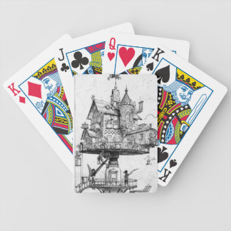 Steampunk Aerial House by Albert Robida Poker Deck
