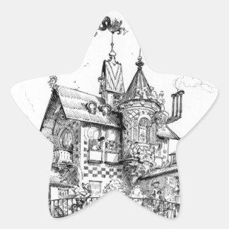 Steampunk Aerial House by Albert Robida Star Stickers
