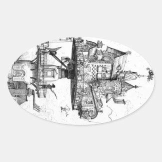 Steampunk Aerial House by Albert Robida Stickers