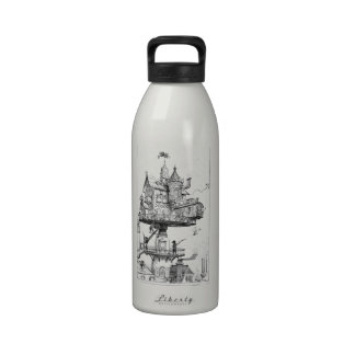 Steampunk Aerial House by Albert Robida Reusable Water Bottle