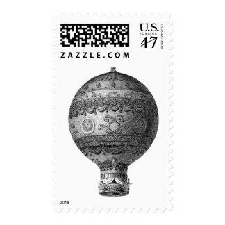Steampunk Aeronautics Balloon Ship Retro Stamp