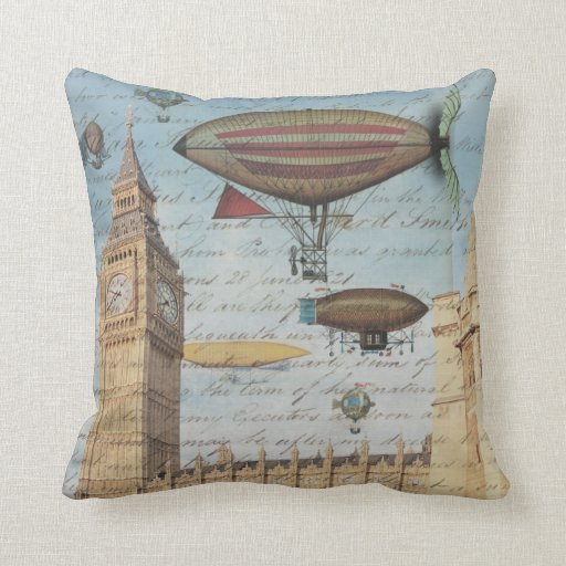 Steampunk Airships in the Sky over London, England Throw Pillows