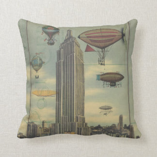 Steampunk Airships in the Sky over New York City Throw Pillows