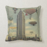 Steampunk Airships in the Sky over New York City Pillows