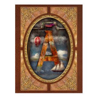 Steampunk - alfabeto - A está para la aventura Postales