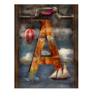 Steampunk - alfabeto - A está para la aventura Tarjeta Postal