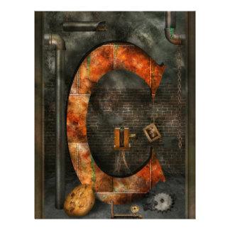 Steampunk - alfabeto - C está para la cadena Tarjetas Publicitarias