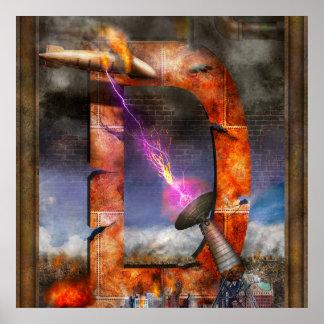 Steampunk - alfabeto - D está para el rayo de Poster