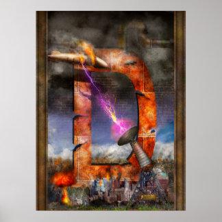 Steampunk - alfabeto - D está para el rayo de Posters