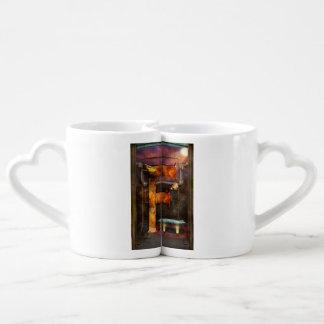 Steampunk - alfabeto - F está para la máquina de Set De Tazas De Café