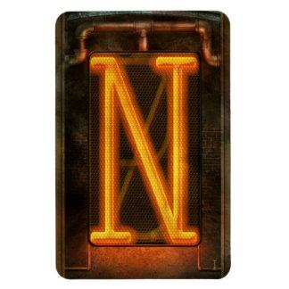 Steampunk - alfabeto - N está para Nixie Imán Flexible