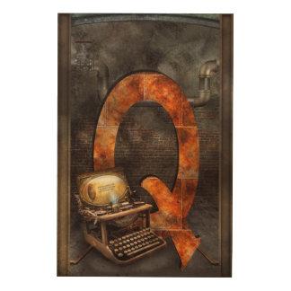 Steampunk - alfabeto - Q está para Qwerty Impresiones En Madera