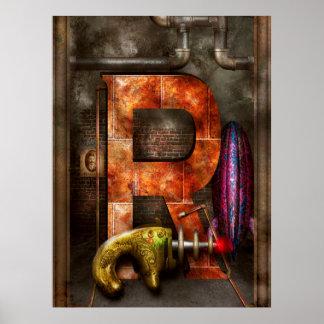 Steampunk - alfabeto - R está para el arma de rayo Póster
