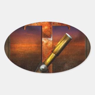 Steampunk - alfabeto - T está para el telescopio Calcomanías De Ovales Personalizadas