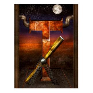 Steampunk - alfabeto - T está para el telescopio Postal