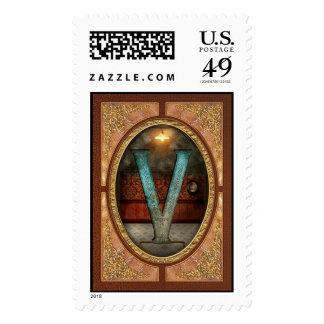Steampunk - alfabeto - V está para el Victorian Franqueo