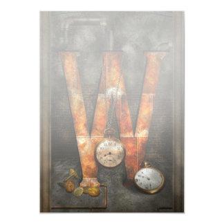 """Steampunk - alfabeto - W está para los relojes Invitación 5"""" X 7"""""""