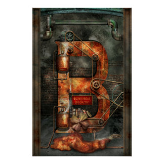 Steampunk - Alphabet - B is for Belts Perfect Poster