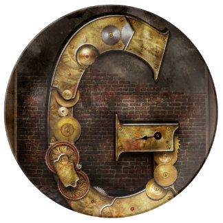 Steampunk - Alphabet - G is for Gears Porcelain Plate