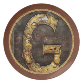 Steampunk - Alphabet - G is for Gears Plates