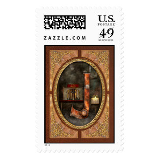 Steampunk - Alphabet - J is for Jet Pack Postage Stamps